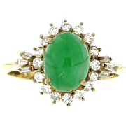 Vintage 14K Yellow Gold Jadeite & Diamond Ring