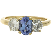Modern Estate 14K Yellow Gold Tanzanite and Diamond Ring