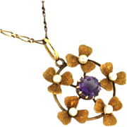 Vintage 15k Gold Pearl and Amethyst Necklace