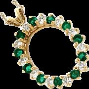 Modern Estate 14K Yellow Gold Emerald & Diamond Pendant w/14K Chain