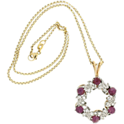 Edwardian Platinum & 14K Yellow Gold Pink Cabochon Sapphire & Diamond Pendant w/ 14K Chain