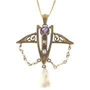 Beautiful Victorian 14K Yellow Gold Doublet & Pearl Pendant