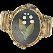 Victorian 14K Yellow Gold Pietra Dura Bracelet