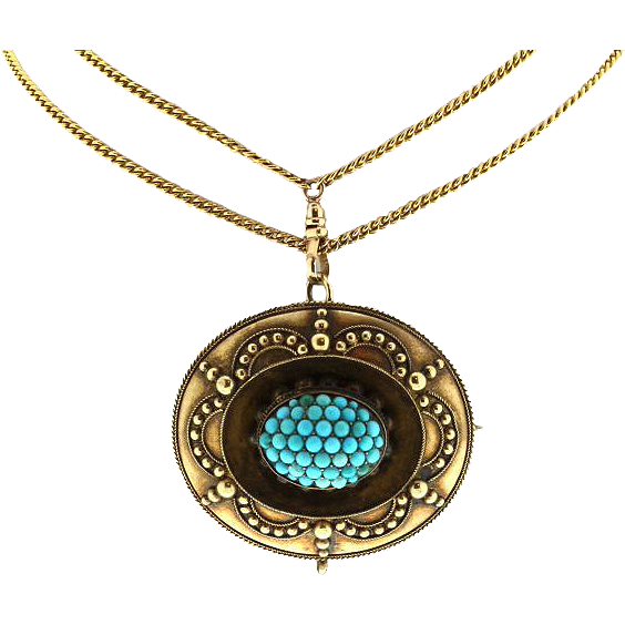 Victorian Yellow Gold and Turquoise Brooch on Ladies Watch Chain