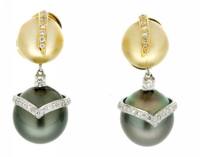 modern estate 18k pearl earrings sold on ruby