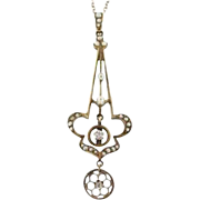 14k Victorian Lavalier with Diamonds & Seed Pearls