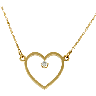 Modern Estate 14K Diamond Heart Necklace