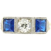 Art Deco 14k Three Stone Diamond & Synthetic Sapphire Ring
