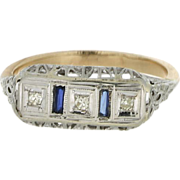 Art Deco 14K/18K Synthetic Sapphire & Diamond Ring