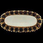 Victorian 14K Opal and Garnet Brooch