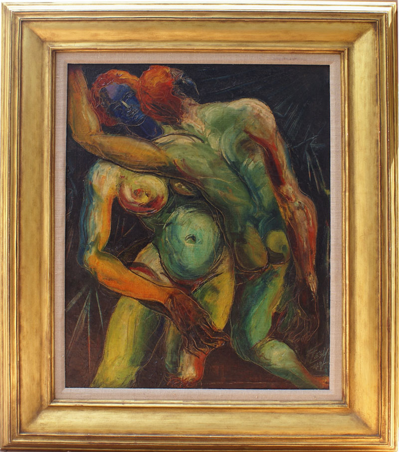 Nude couple surreal modern vintage oil painting by Lesly