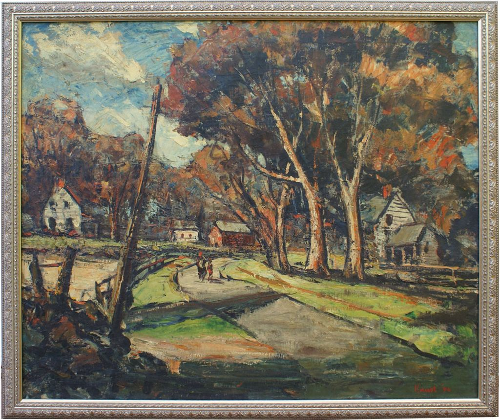 Original Impressionist Country Landscape Oil Painting Ny