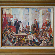 V. Lenin at political rally vintage Russian Socialist Realism painting by Godunov