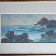 Seascape 1939 pastel painting by Leonid Gechtoff Russian American artist