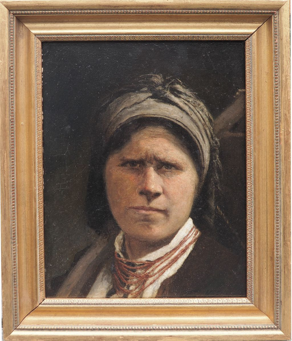 Peasant woman with hoe antique Ukrainian Russian oil painting by Kovalenko