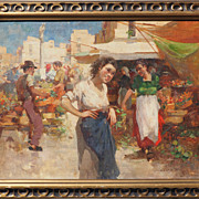 Gypsy woman bazaar scene oil painting by Witman Etelka Vizkeleti  Hungary