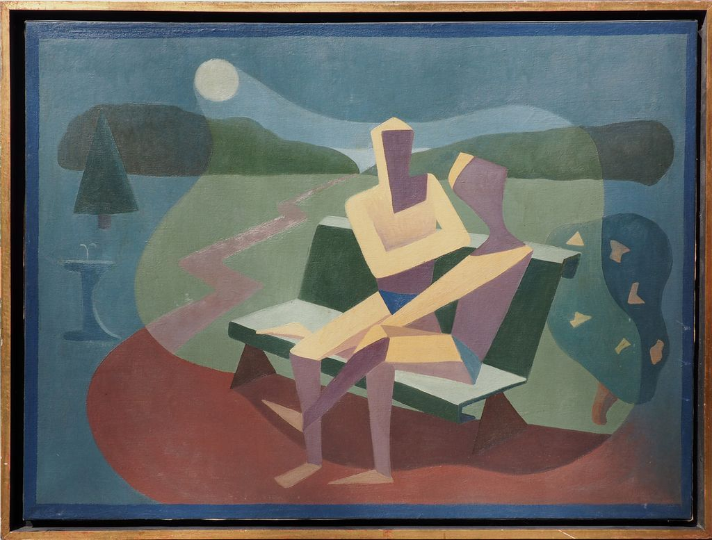 Men on moon lit bench cubist modern vintage oil painting by Dora Delpino