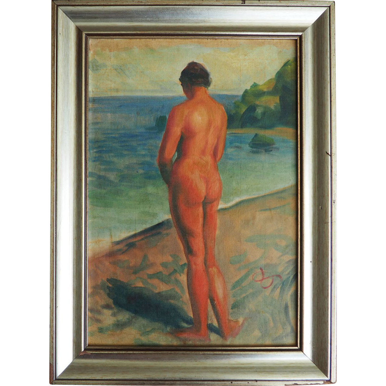 Nude on beach original painting by Pierre Dionisi Corsica France