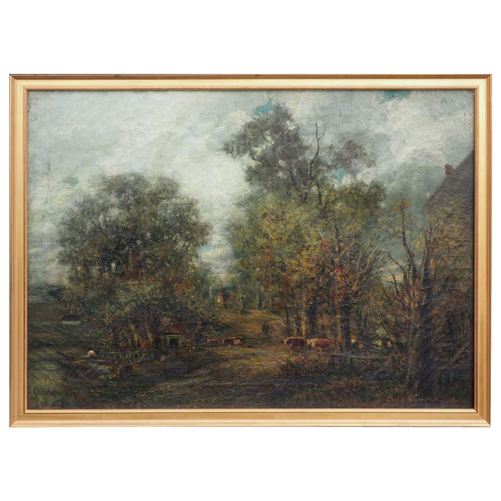 Old Mill Rd Long Island NY landscape antique oil painting Charles Henry Miller