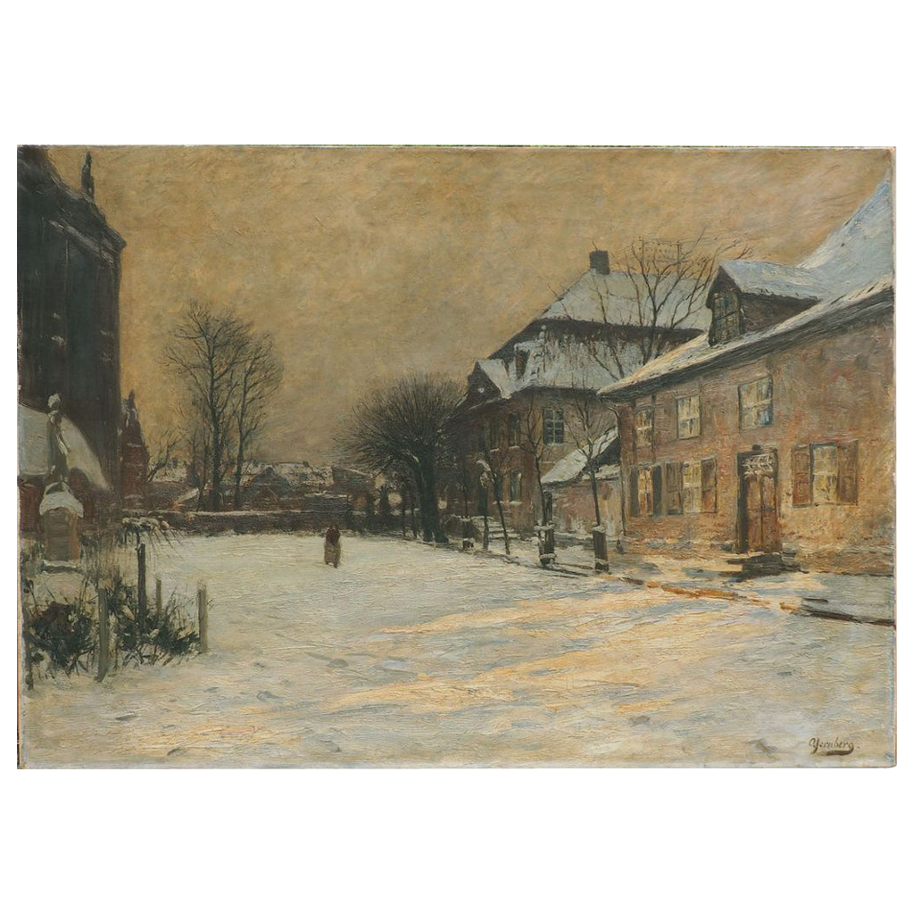 Winter city street antique oil painting by Olof Jernberg Geramny