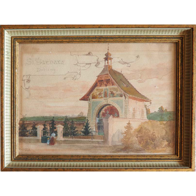 Vienna Dobling antique watercolor painting by Emil Czech Austria