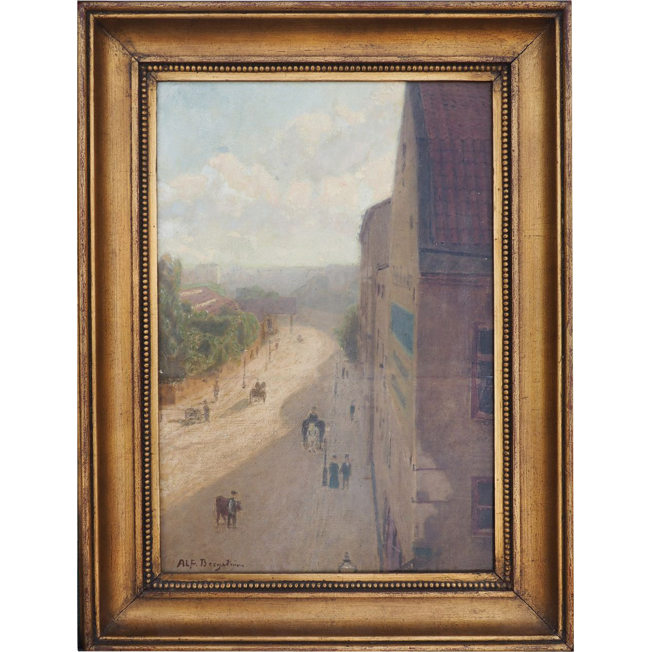 City street 1920s oil painting by Alfred Mauritz Bergstrom Sweden