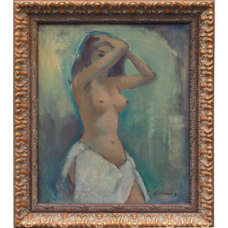 Nude woman modern vintage oil painting by Robert Rukavina