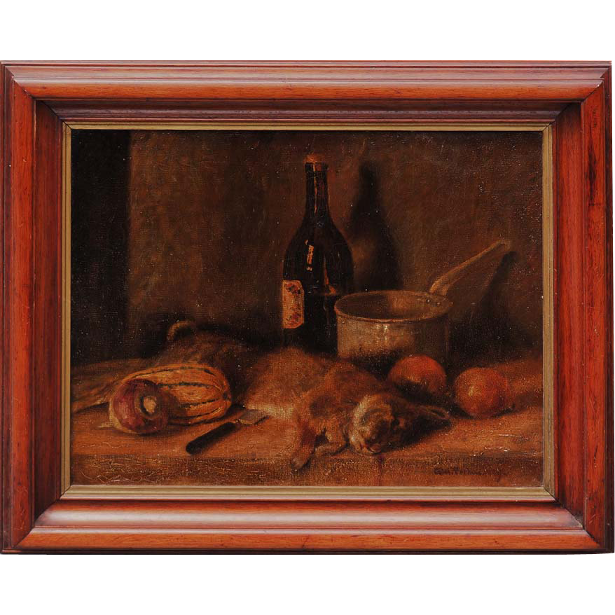 Still life with dead hare antique oil painting by Axel Farham