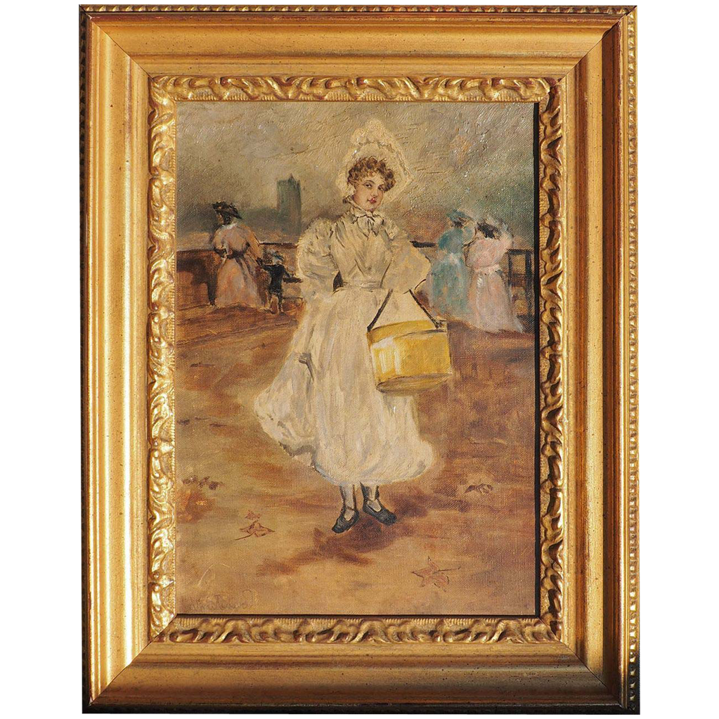 Woman with hat box antique impressionist oil painting by Montenard France