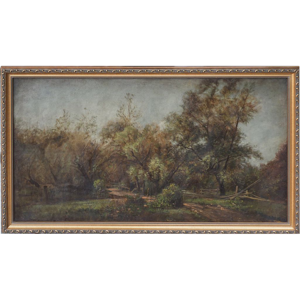 Country road Long Island New York landscape antique oil painting by Charles Henry Miller