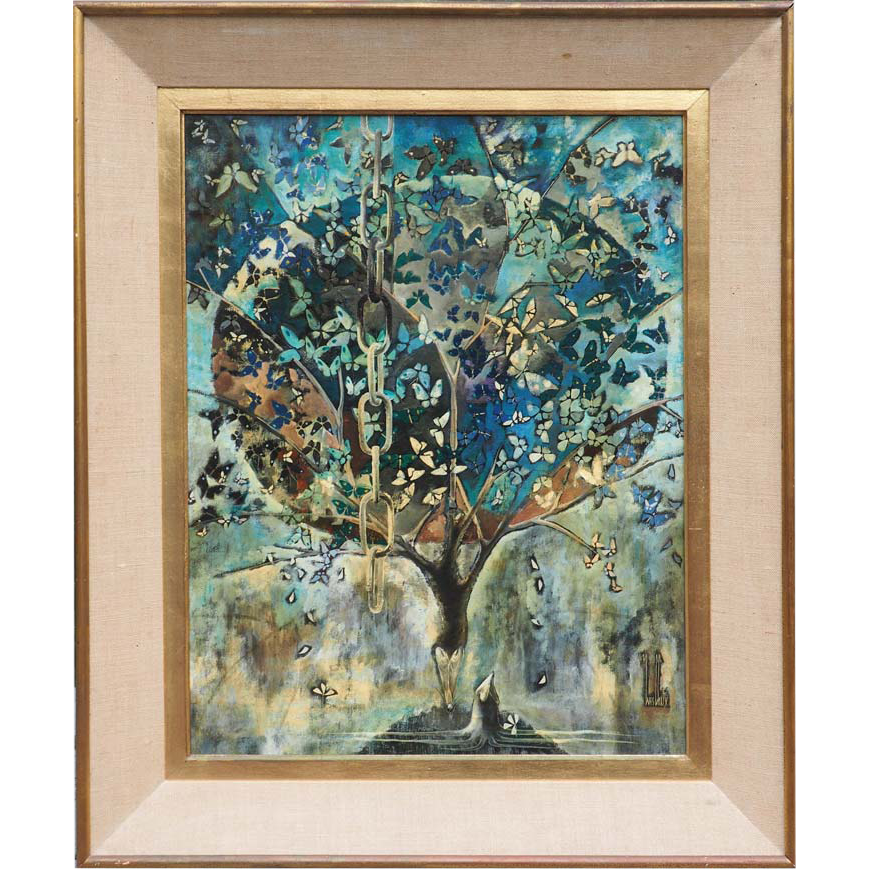 Butterfly tree surreal vintage oil painting by Yves Chaix France