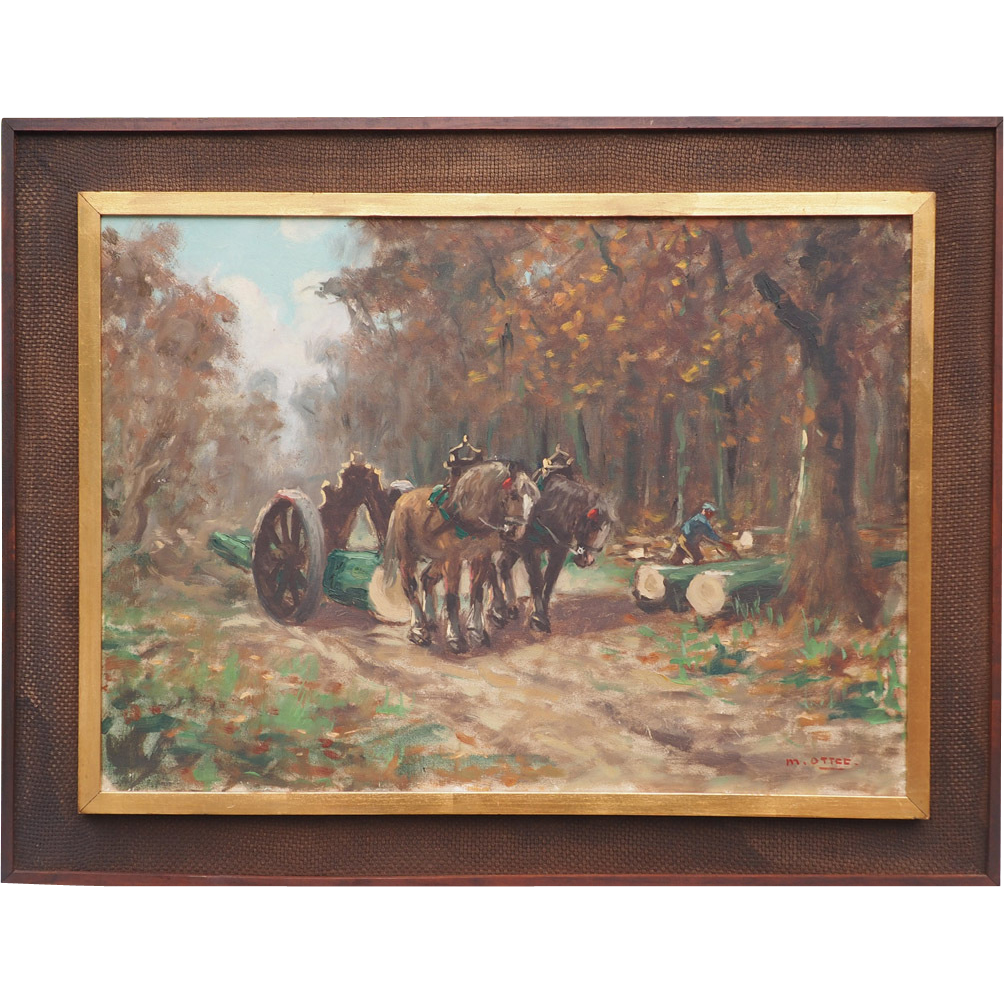 Lumberjack logging by horse carriage vintage oil painting by Marc Ottee