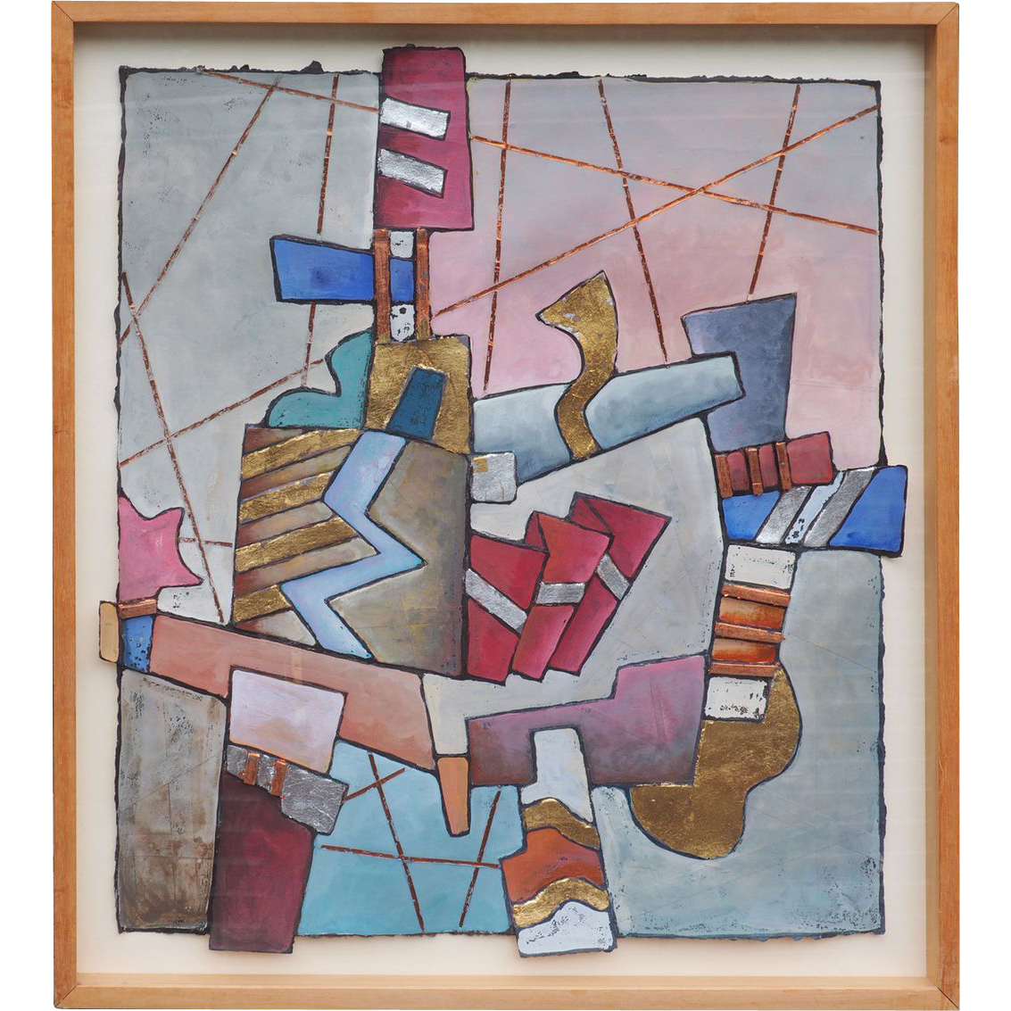 Geometric Song vintage abstract mixed media painting by Tom Bianchi