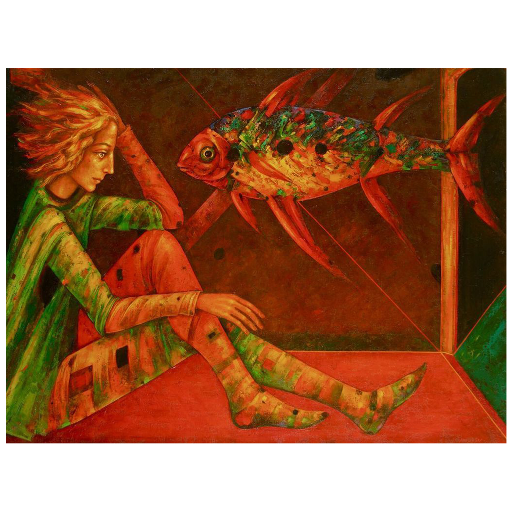 Man with fish surreal original oil painting by Russian American artist Mihail Aleksandrov