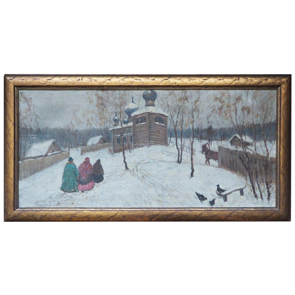 Russian winter scene by church antique oil painting by Astafiev