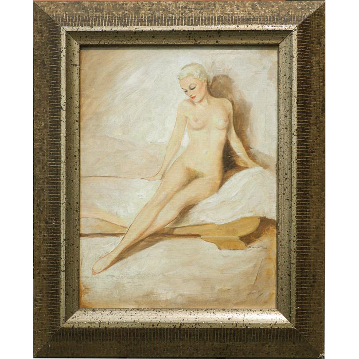 Nude woman oil painting by Anton Ottomar