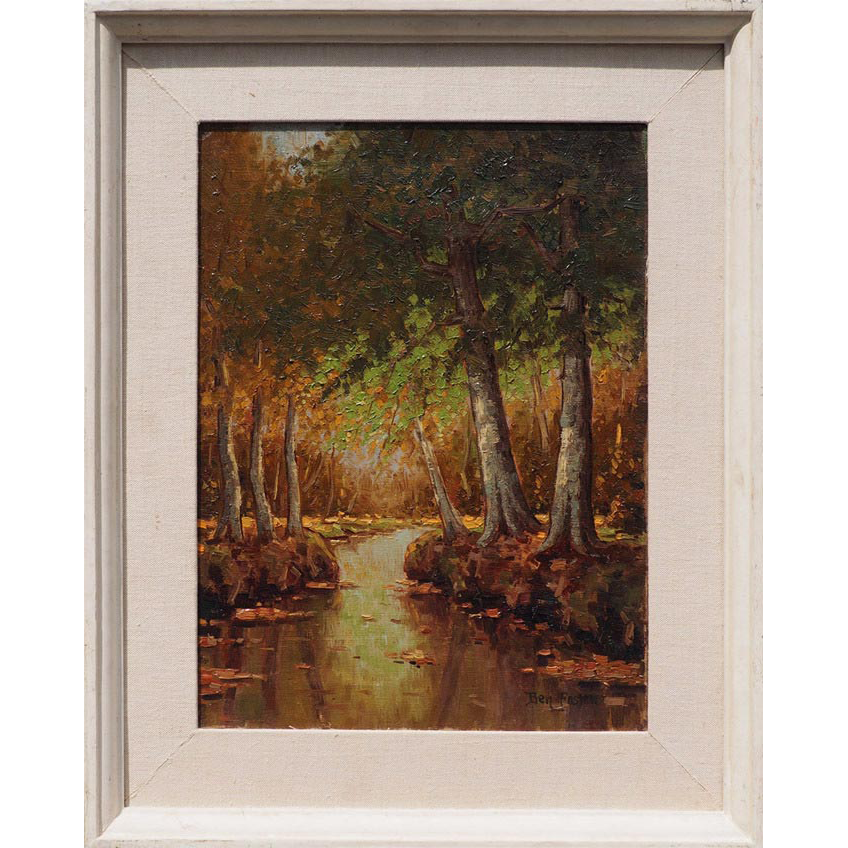 Forest stream landscape original antique oil painting by Benjamin Ben Foster