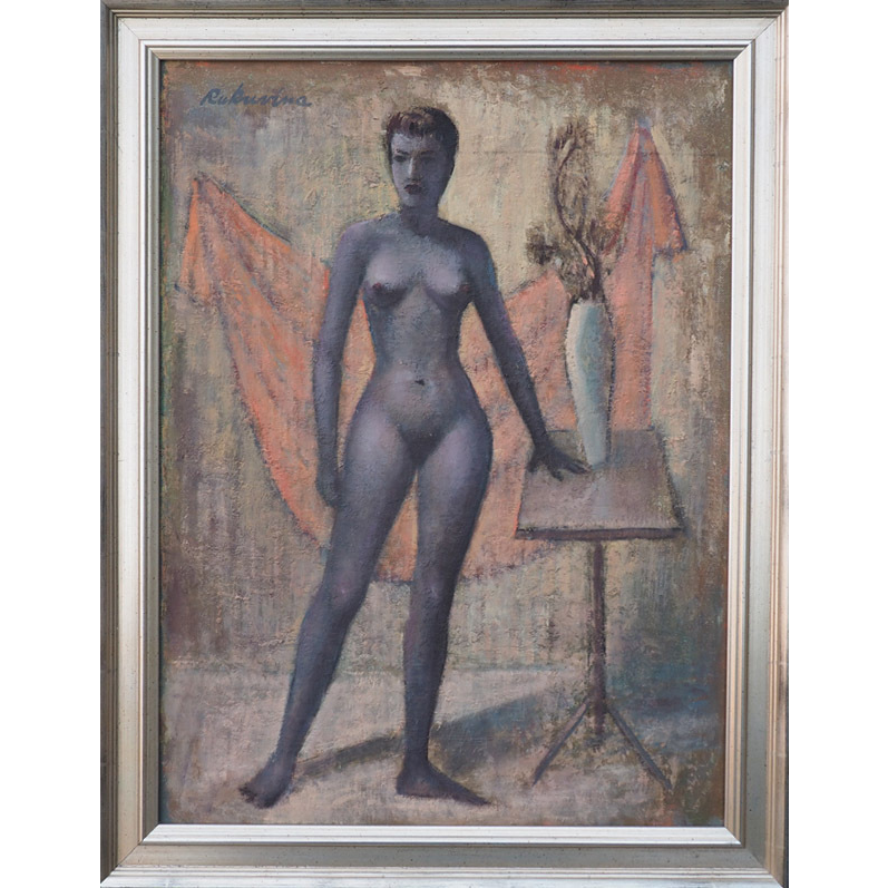Blue nude woman surreal vintage oil painting by Robert Rukavina