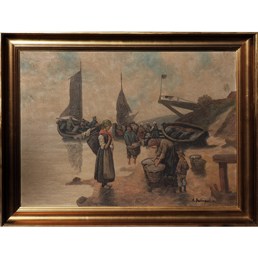 Fishermen by boats village scene antique oil painting by Adolf (Constantin) Baumgartner-Stoiloff