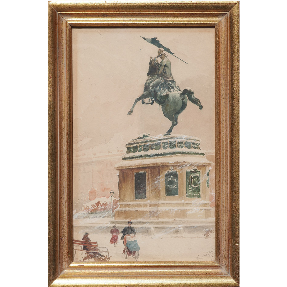 Heldenplatz in snow Vienna Archduke Charles statue antique watercolor painting by Emil Czech Austria