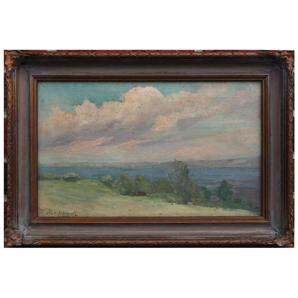 Clouds over river landscape antique oil painting by Otto Henry Schneider