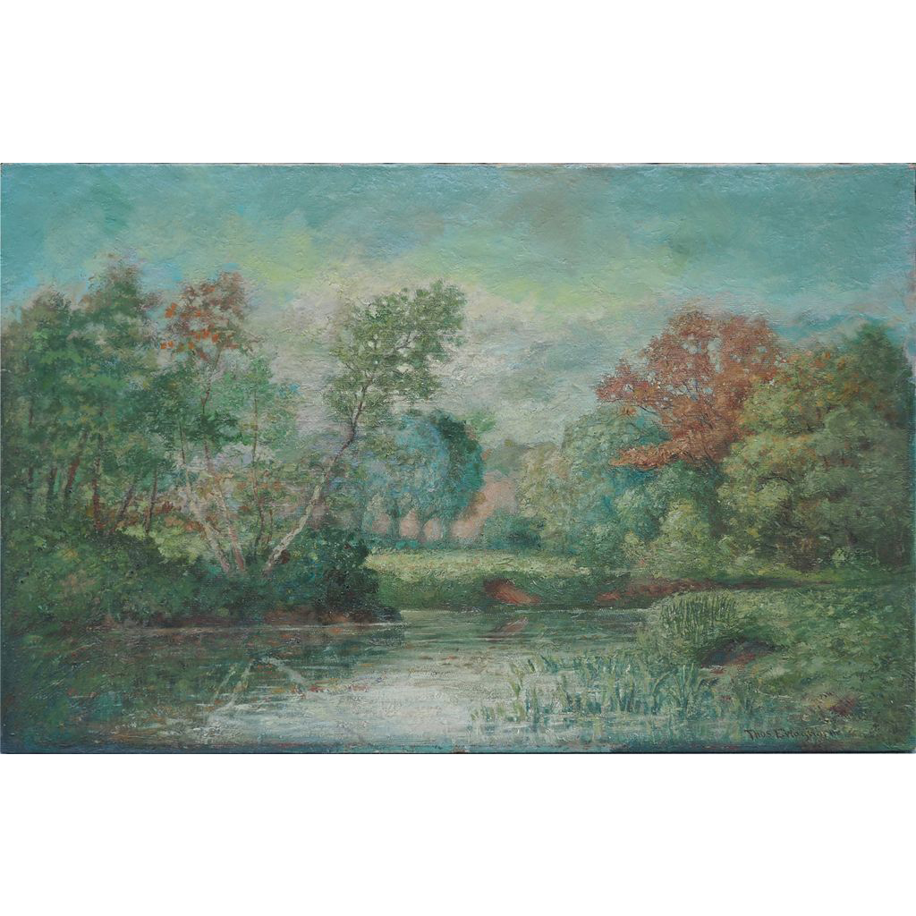 Impressionist landscape antique oil painting by American artist Thomas E. Waghorne