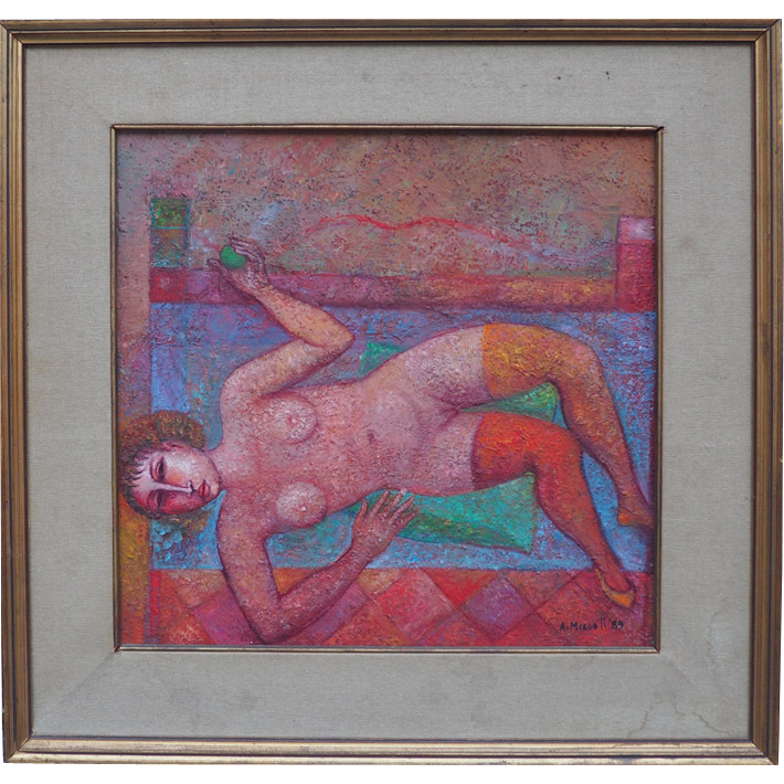 Nude woman with apple vintage oil painting by Arnaldo Miccoli Italian