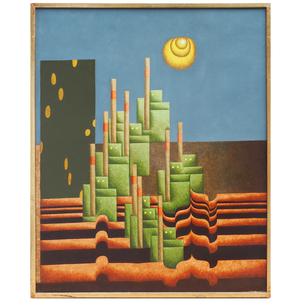 L'Invasion robots in the desert modern abstract vintage oil painting by Christian Lemesle France