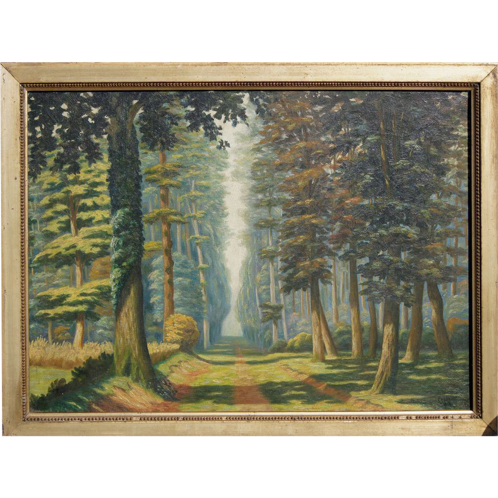 Country road vintage oil painting by Polish French artist Wladyslaw Cegla