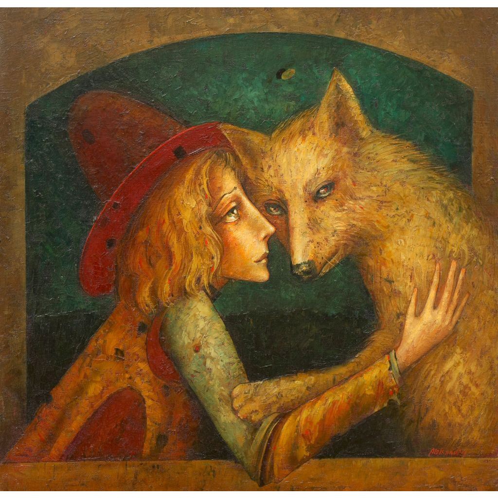 Boy with wolf original oil painting by Russian American artist Mihail Aleksandrov