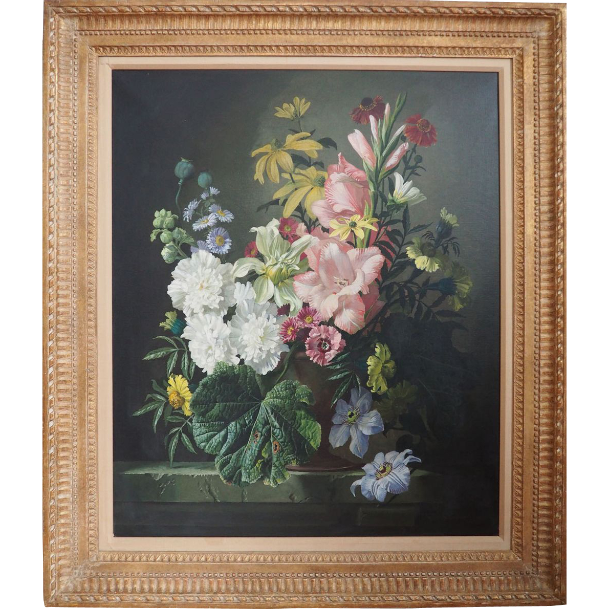 Flowers Floral Still Life Original Vintage Oil Painting By