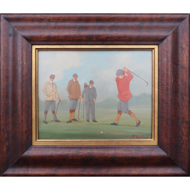 Golfers in action 4 vintage 1930s miniature oil paintings by English artist William Rowland