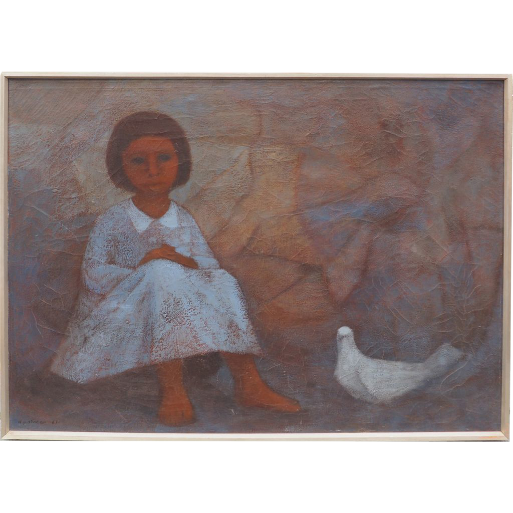 Girl with dove bird vintage social realist oil painting by Antonio Gonzalez Orozco Mexico