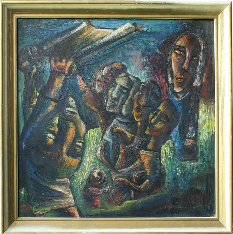1948 Abstract Modern Jewish Theme Oil Painting By Shimon